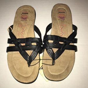 Earth Spirit Black Sandals, Flip Flops